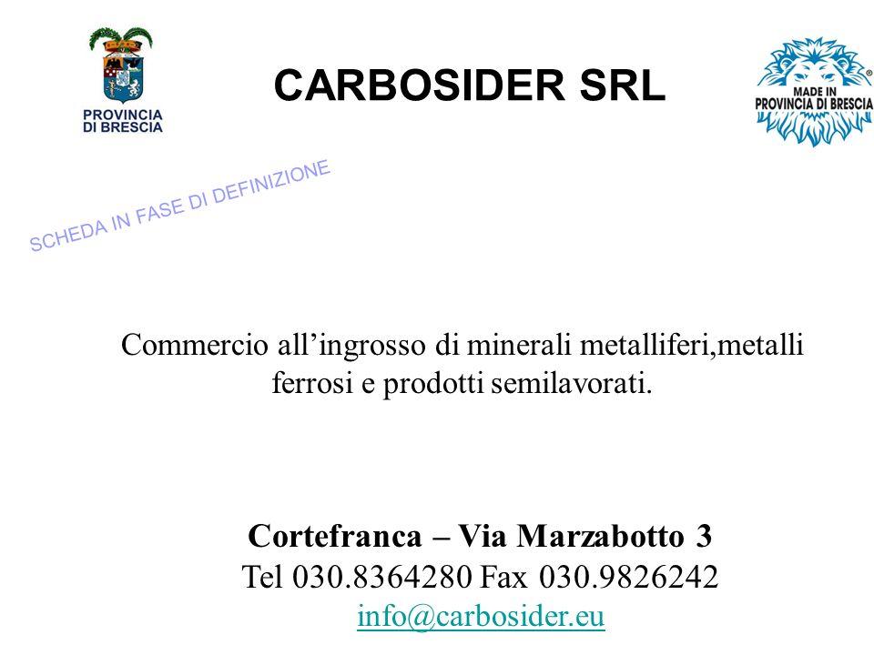 CARBOSIDER SRL Commercio allingrosso di minerali metalliferi,metalli ferrosi e prodotti semilavorati.