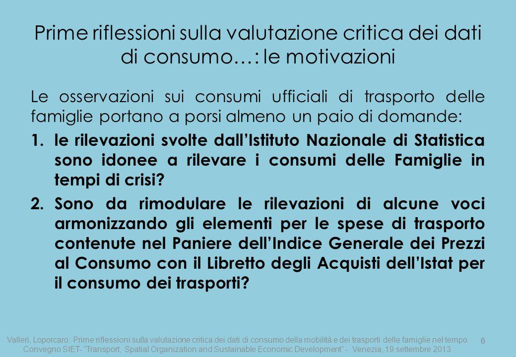 6 Prime riflessioni sulla valutazione critica dei dati di consumo…: le motivazioni Le osservazioni sui consumi ufficiali di trasporto delle famiglie p