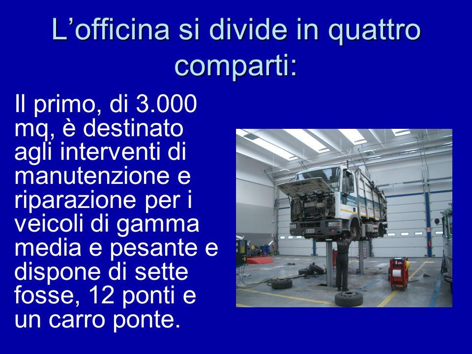 Lofficina si divide in quattro comparti: Il primo, di 3.000 mq, è destinato agli interventi di manutenzione e riparazione per i veicoli di gamma media