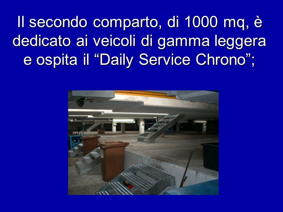 Il secondo comparto, di 1000 mq, è dedicato ai veicoli di gamma leggera e ospita il Daily Service Chrono;