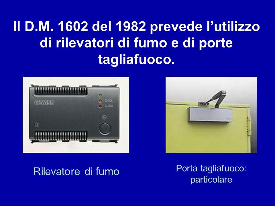 Rilevatore di fumo Porta tagliafuoco: particolare Il D.M. 1602 del 1982 prevede lutilizzo di rilevatori di fumo e di porte tagliafuoco.