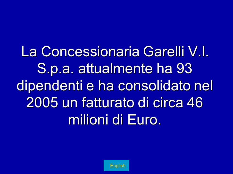 La Concessionaria Garelli V.I. S.p.a. attualmente ha 93 dipendenti e ha consolidato nel 2005 un fatturato di circa 46 milioni di Euro. English