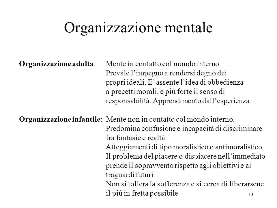13 Organizzazione mentale Organizzazione adulta: Mente in contatto col mondo interno Prevale limpegno a rendersi degno dei propri ideali.