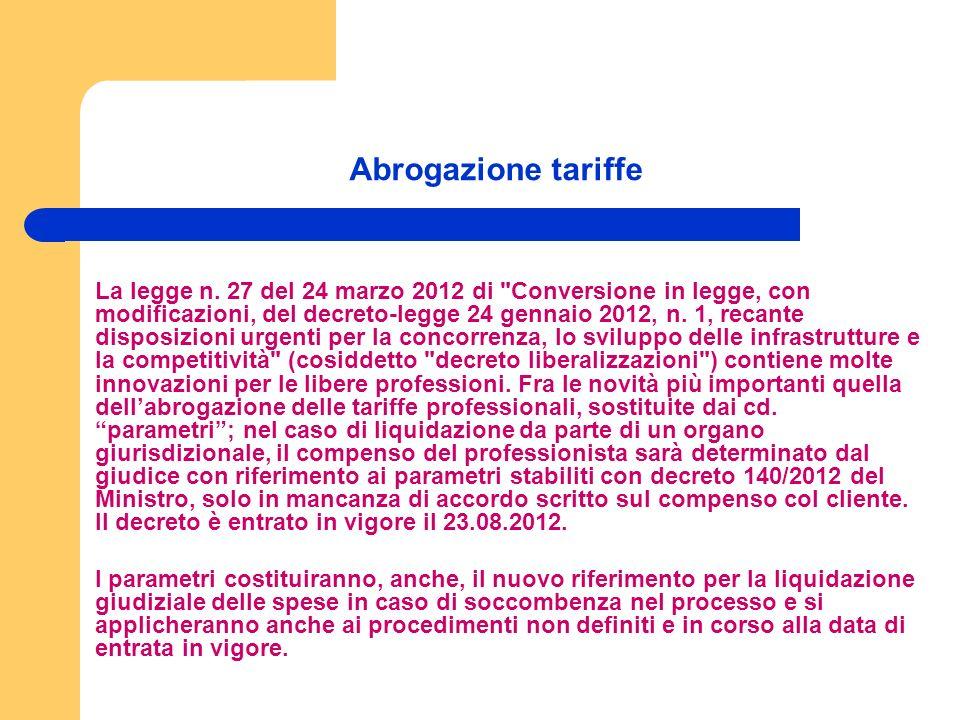 Abrogazione tariffe La legge n.