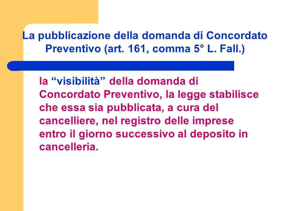 La pubblicazione della domanda di Concordato Preventivo (art.
