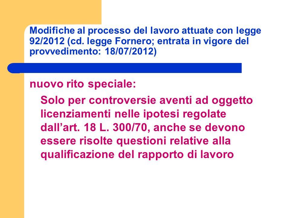Modifiche al processo del lavoro attuate con legge 92/2012 (cd.