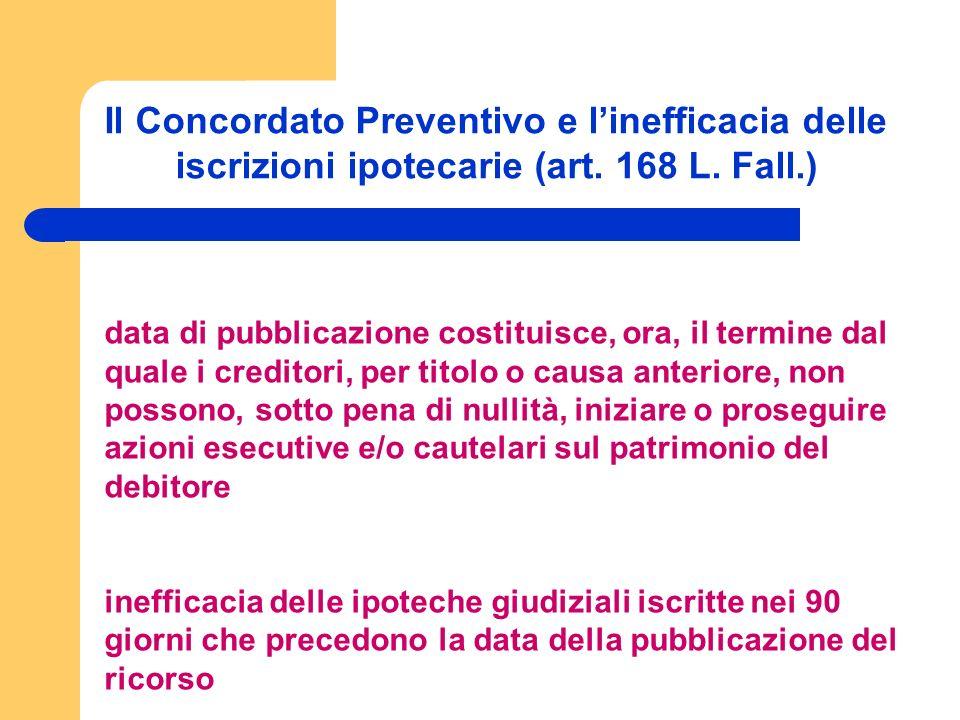 Il Concordato Preventivo e linefficacia delle iscrizioni ipotecarie (art.