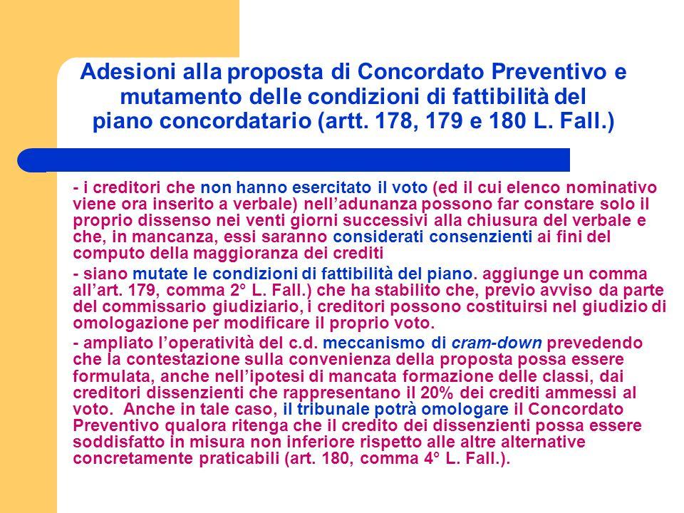 Adesioni alla proposta di Concordato Preventivo e mutamento delle condizioni di fattibilità del piano concordatario (artt.