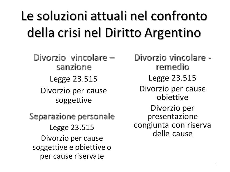 Le soluzioni attuali nel confronto della crisi nel Diritto Argentino Separazione personale Legge 23.515 Divorzio per cause soggettive e obiettive o pe