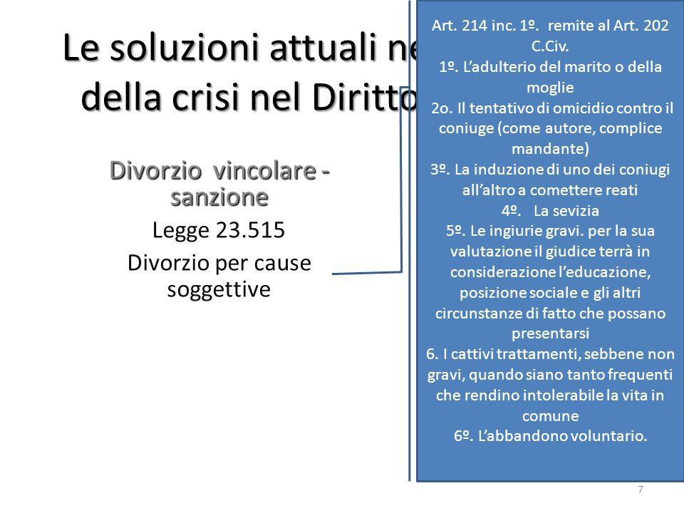 Le soluzioni attuali nel confronto della crisi nel Diritto Argentino Divorzio vincolare - sanzione Legge 23.515 Divorzio per cause soggettive Art. 214