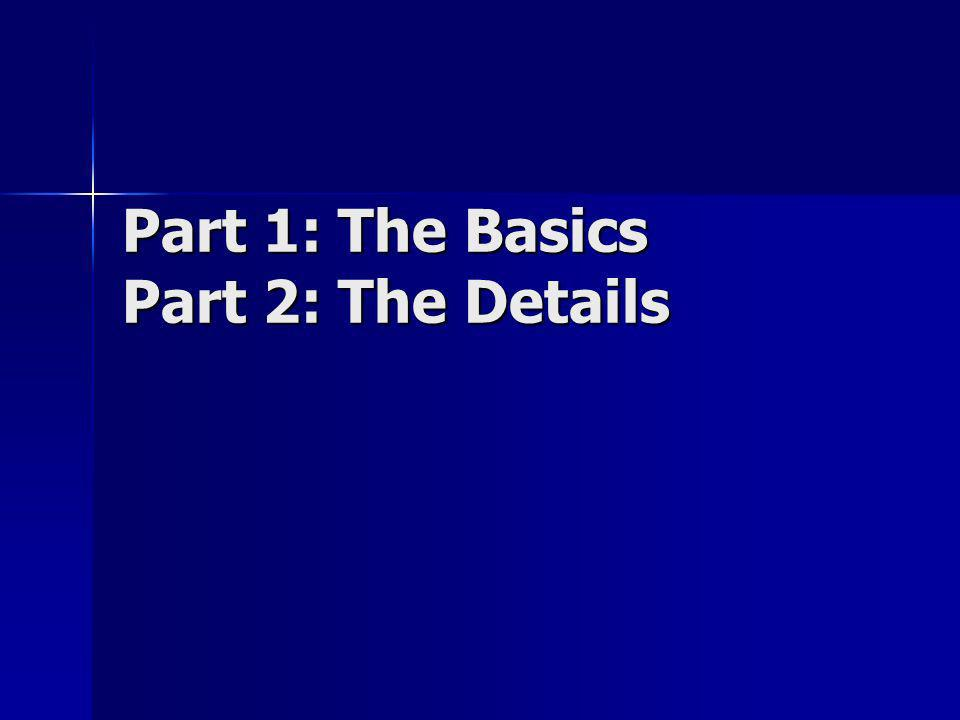 Part 1: The Basics Part 2: The Details