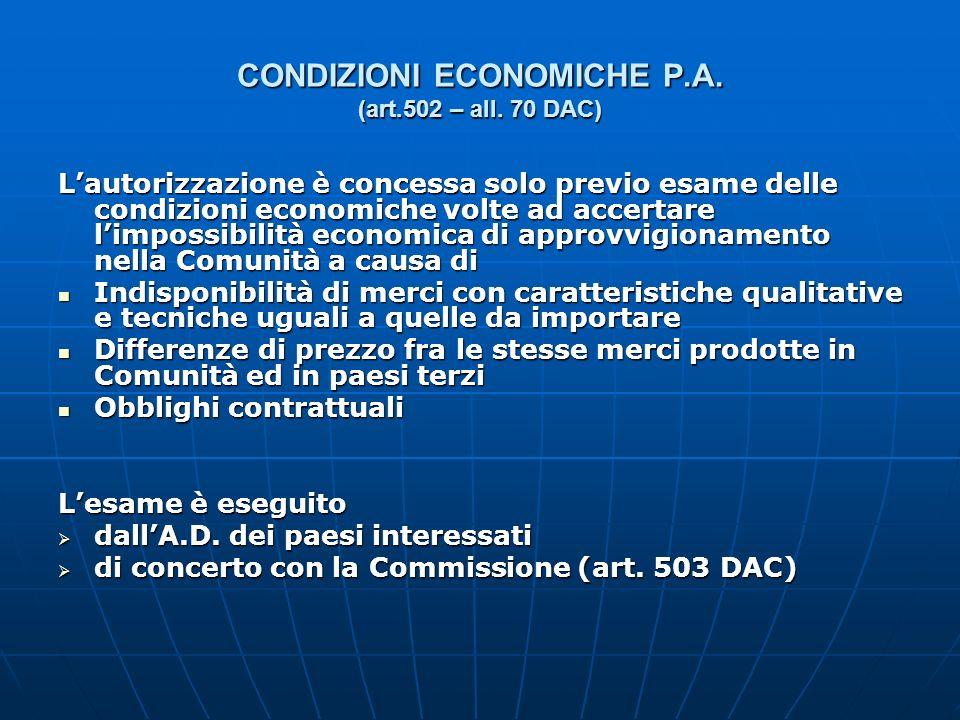 CONDIZIONI ECONOMICHE P.A. (art.502 – all. 70 DAC) Lautorizzazione è concessa solo previo esame delle condizioni economiche volte ad accertare limposs
