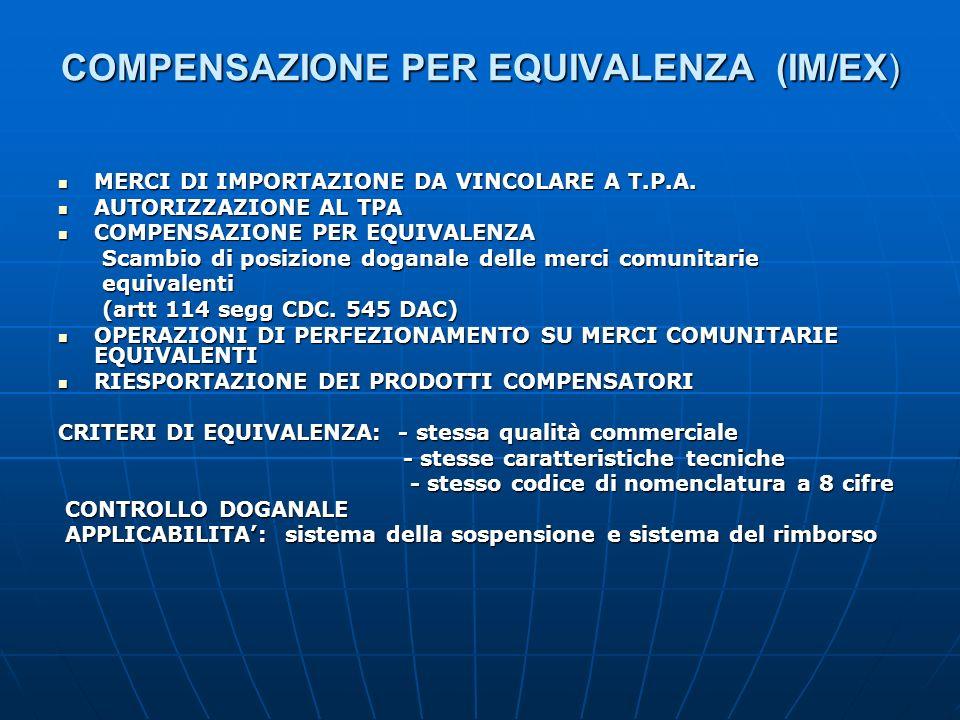 COMPENSAZIONE PER EQUIVALENZA (IM/EX) MERCI DI IMPORTAZIONE DA VINCOLARE A T.P.A. MERCI DI IMPORTAZIONE DA VINCOLARE A T.P.A. AUTORIZZAZIONE AL TPA AU