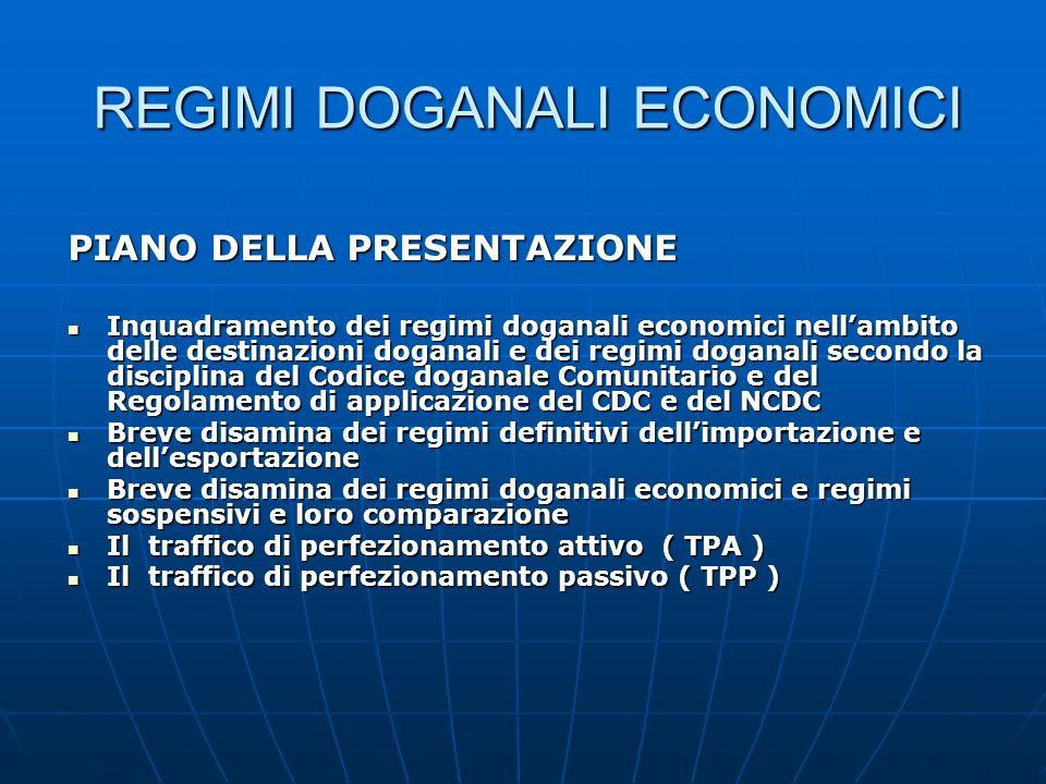 REGIMI DOGANALI ECONOMICI PIANO DELLA PRESENTAZIONE Inquadramento dei regimi doganali economici nellambito delle destinazioni doganali e dei regimi do