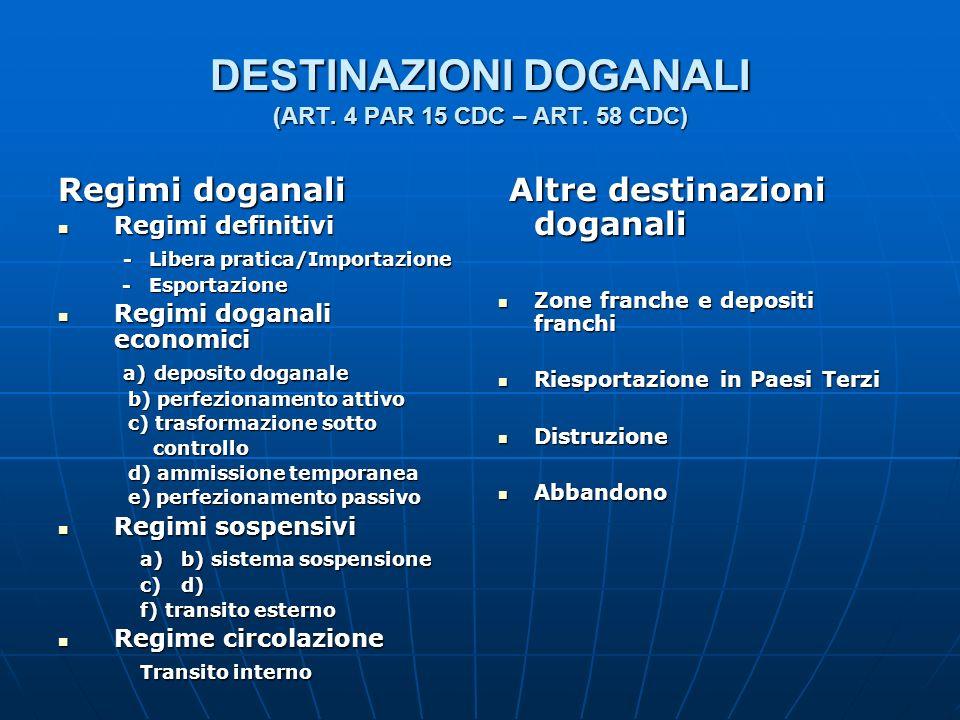 DESTINAZIONI DOGANALI (ART. 4 PAR 15 CDC – ART. 58 CDC) Regimi doganali Regimi definitivi Regimi definitivi - Libera pratica/Importazione - Libera pra