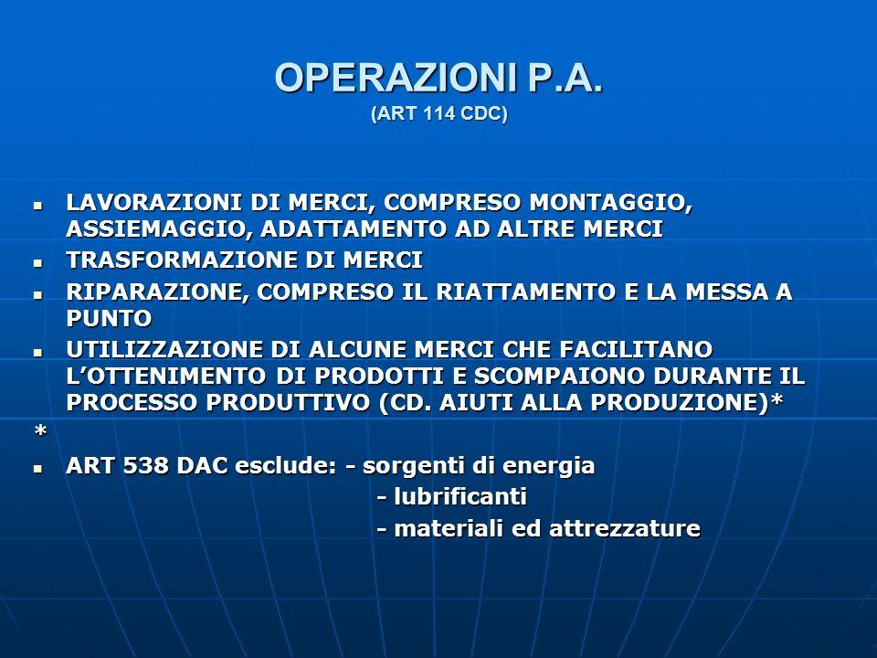OPERAZIONI P.A. (ART 114 CDC) LAVORAZIONI DI MERCI, COMPRESO MONTAGGIO, ASSIEMAGGIO, ADATTAMENTO AD ALTRE MERCI LAVORAZIONI DI MERCI, COMPRESO MONTAGG
