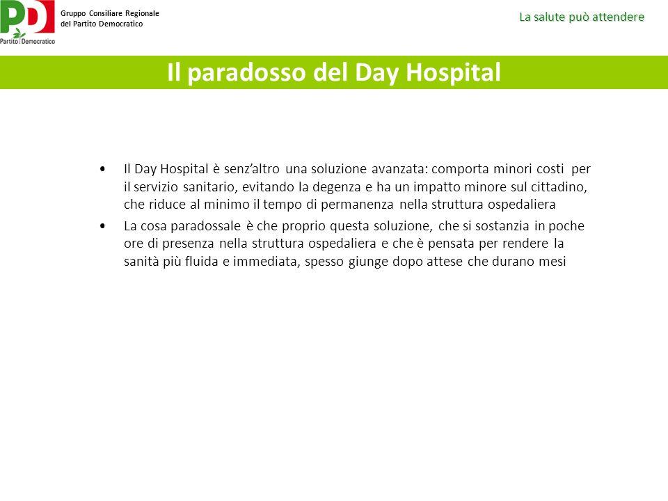 La salute può attendere Gruppo Consiliare Regionale del Partito Democratico Il paradosso del Day Hospital Il Day Hospital è senzaltro una soluzione av