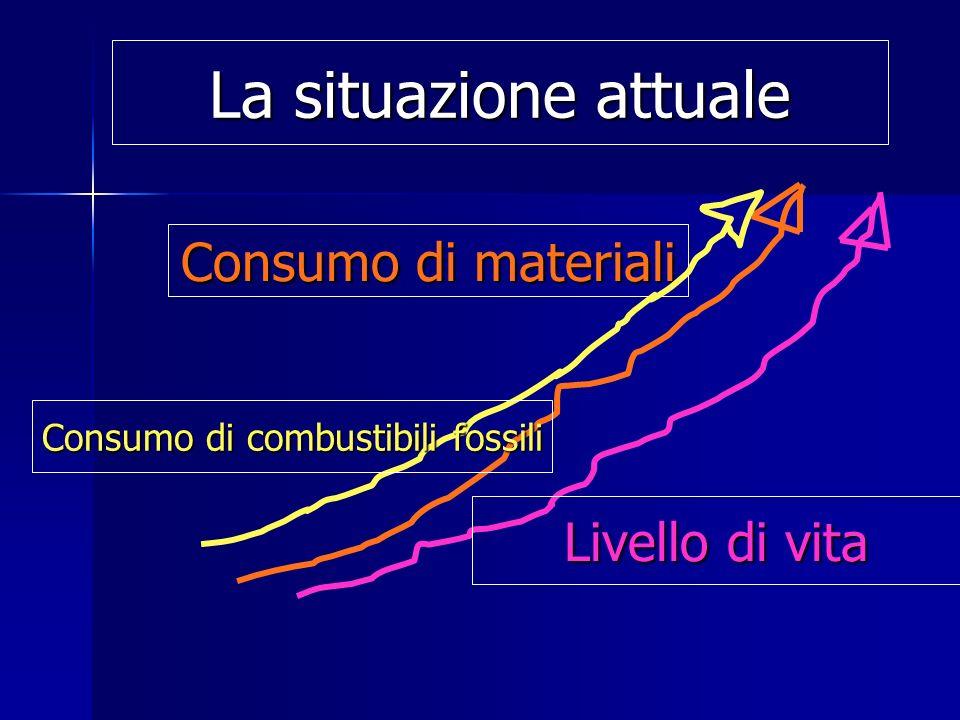 Consumo di materiali Livello di vita La situazione attuale Consumo di combustibili fossili