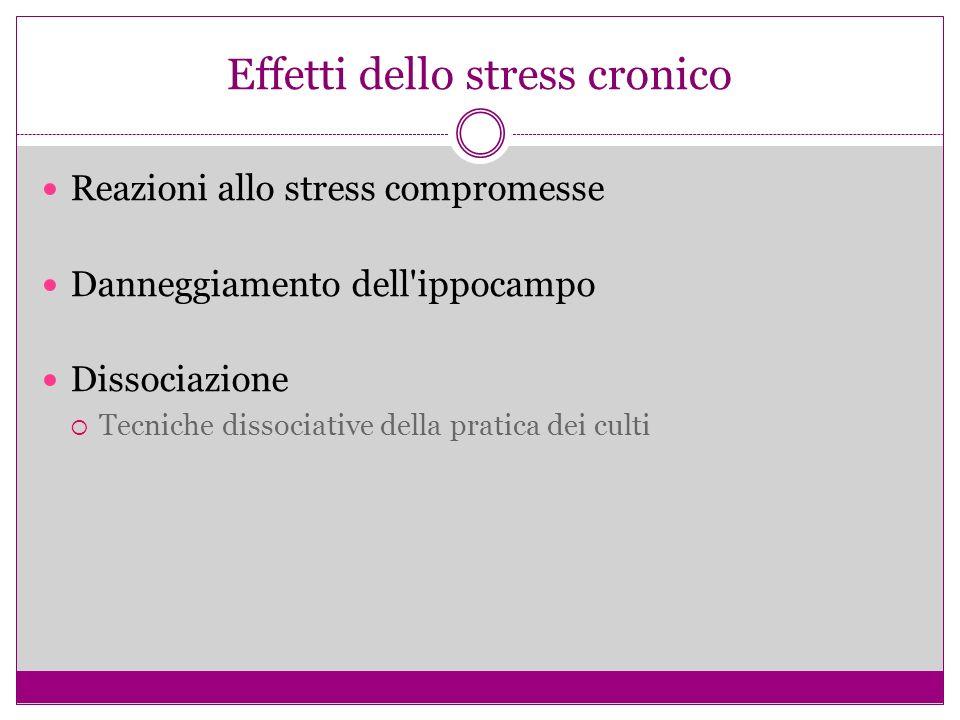 Effetti dello stress cronico Reazioni allo stress compromesse Danneggiamento dell ippocampo Dissociazione Tecniche dissociative della pratica dei culti