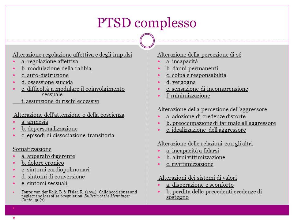 PTSD complesso Alterazione regolazione affettiva e degli impulsi a.