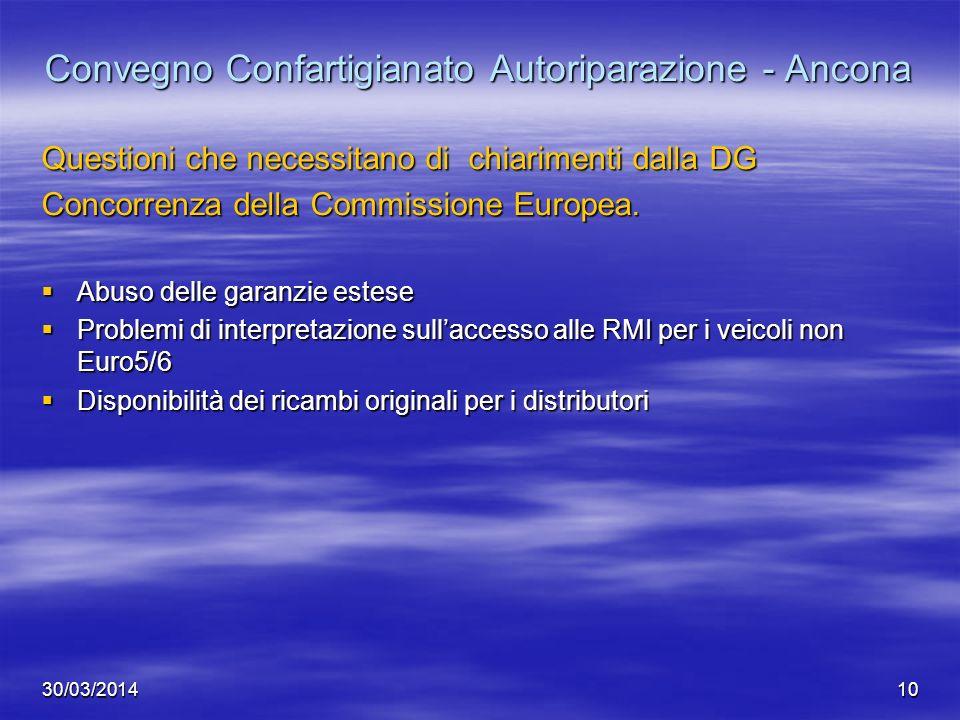 30/03/201410 Convegno Confartigianato Autoriparazione - Ancona Questioni che necessitano di chiarimenti dalla DG Concorrenza della Commissione Europea