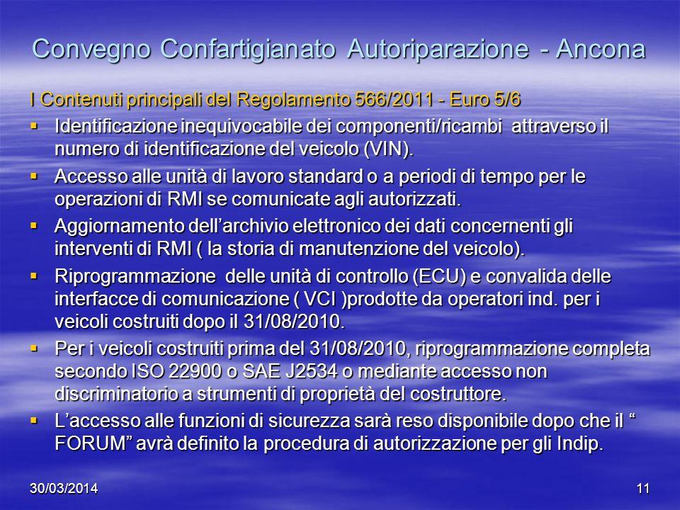 30/03/201411 Convegno Confartigianato Autoriparazione - Ancona I Contenuti principali del Regolamento 566/2011 - Euro 5/6 Identificazione inequivocabi