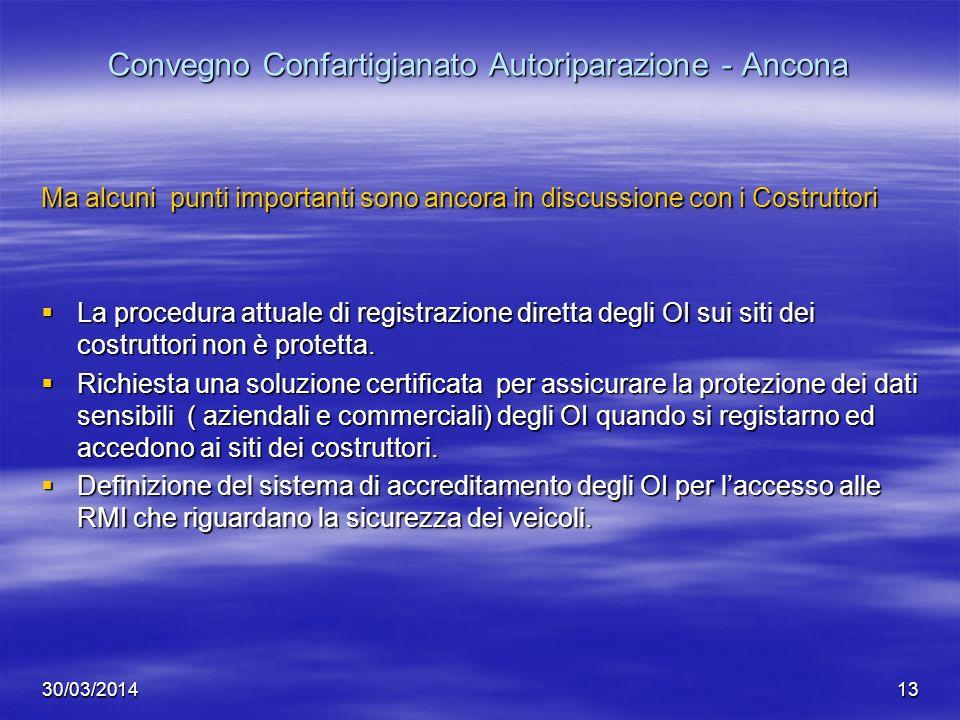 30/03/201413 Convegno Confartigianato Autoriparazione - Ancona Ma alcuni punti importanti sono ancora in discussione con i Costruttori La procedura at