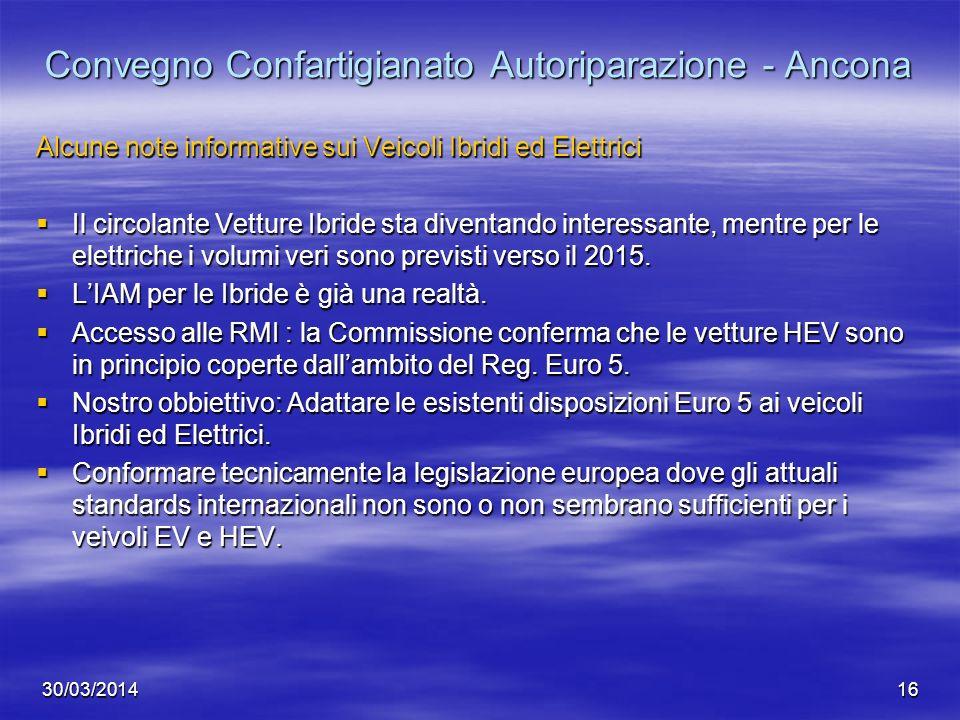 30/03/201416 Convegno Confartigianato Autoriparazione - Ancona Alcune note informative sui Veicoli Ibridi ed Elettrici Il circolante Vetture Ibride st