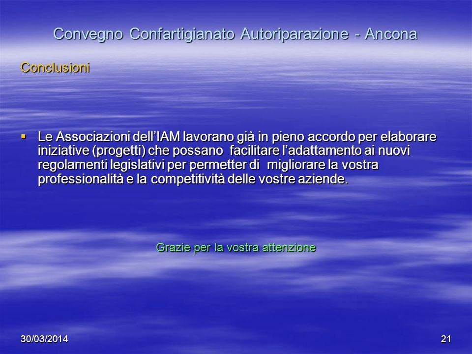 30/03/201421 Convegno Confartigianato Autoriparazione - Ancona Conclusioni Le Associazioni dellIAM lavorano già in pieno accordo per elaborare iniziat