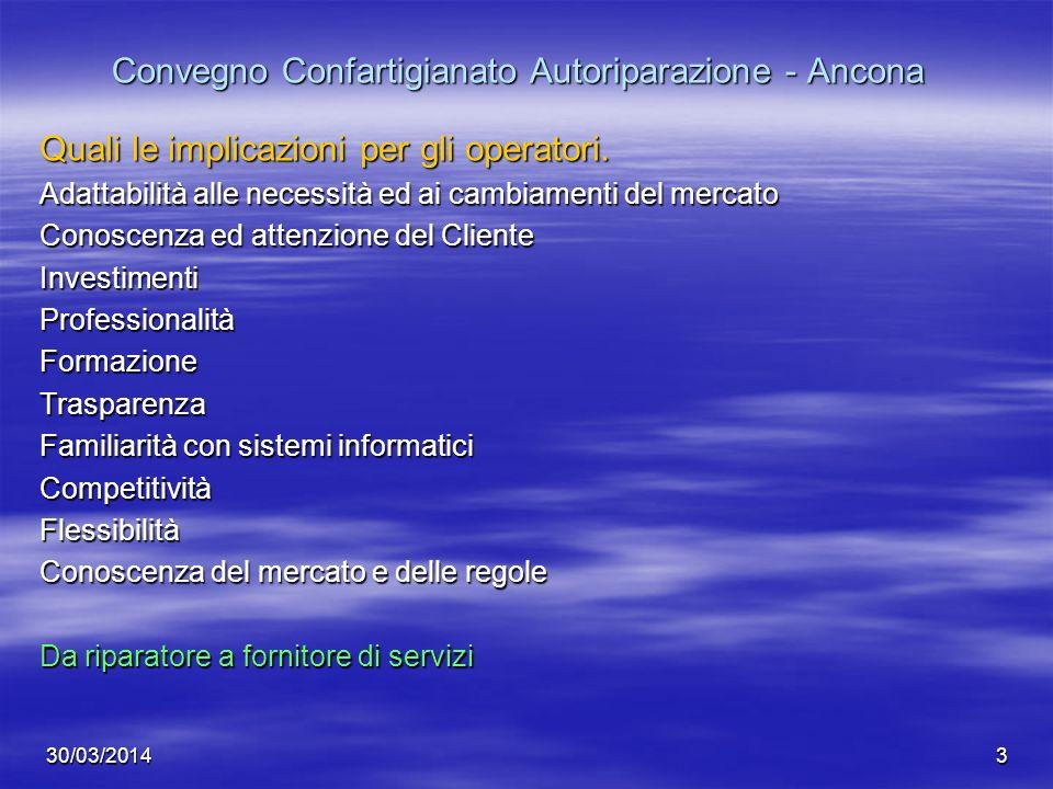 30/03/20143 Convegno Confartigianato Autoriparazione - Ancona Quali le implicazioni per gli operatori. Adattabilità alle necessità ed ai cambiamenti d