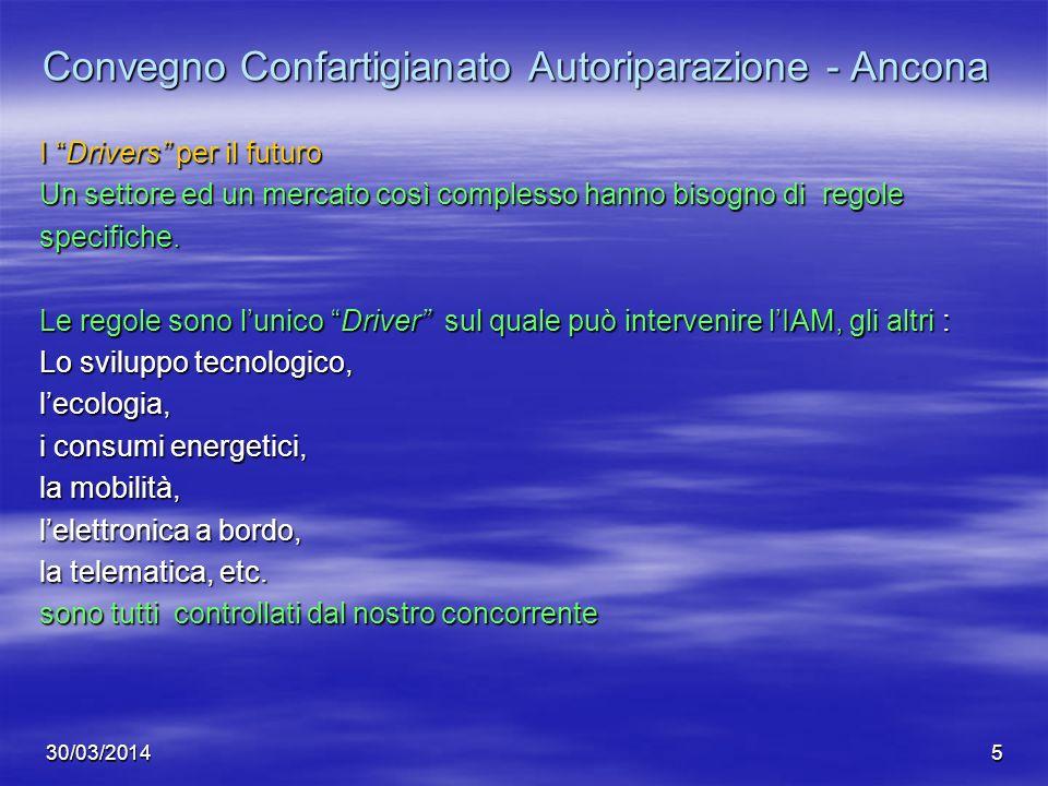 30/03/20145 Convegno Confartigianato Autoriparazione - Ancona I Drivers per il futuro Un settore ed un mercato così complesso hanno bisogno di regole
