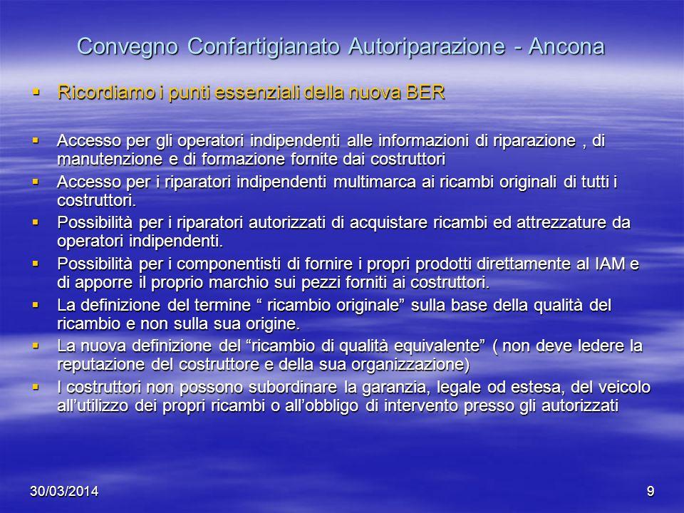 30/03/20149 Convegno Confartigianato Autoriparazione - Ancona Ricordiamo i punti essenziali della nuova BER Ricordiamo i punti essenziali della nuova