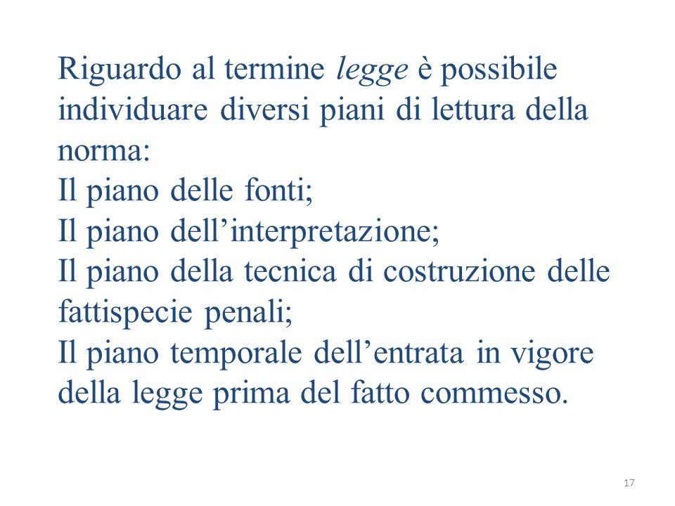 17 Riguardo al termine legge è possibile individuare diversi piani di lettura della norma: Il piano delle fonti; Il piano dellinterpretazione; Il pian