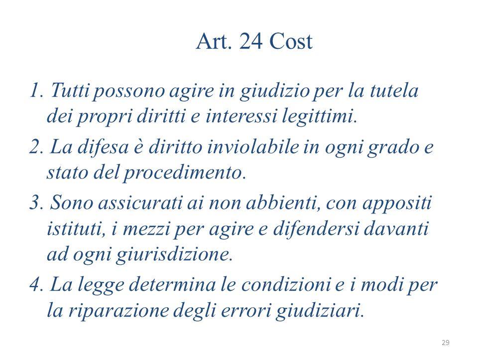 29 Art. 24 Cost 1. Tutti possono agire in giudizio per la tutela dei propri diritti e interessi legittimi. 2. La difesa è diritto inviolabile in ogni