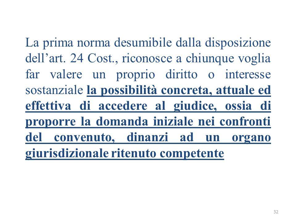 32 La prima norma desumibile dalla disposizione dellart. 24 Cost., riconosce a chiunque voglia far valere un proprio diritto o interesse sostanziale l