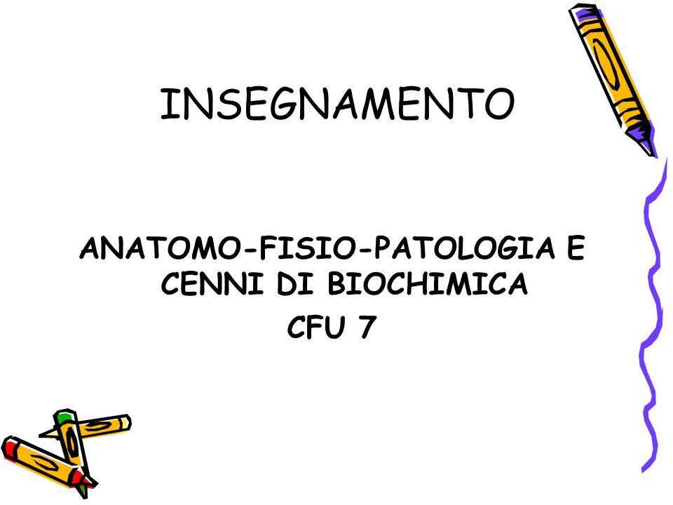 INSEGNAMENTO ANATOMO-FISIO-PATOLOGIA E CENNI DI BIOCHIMICA CFU 7
