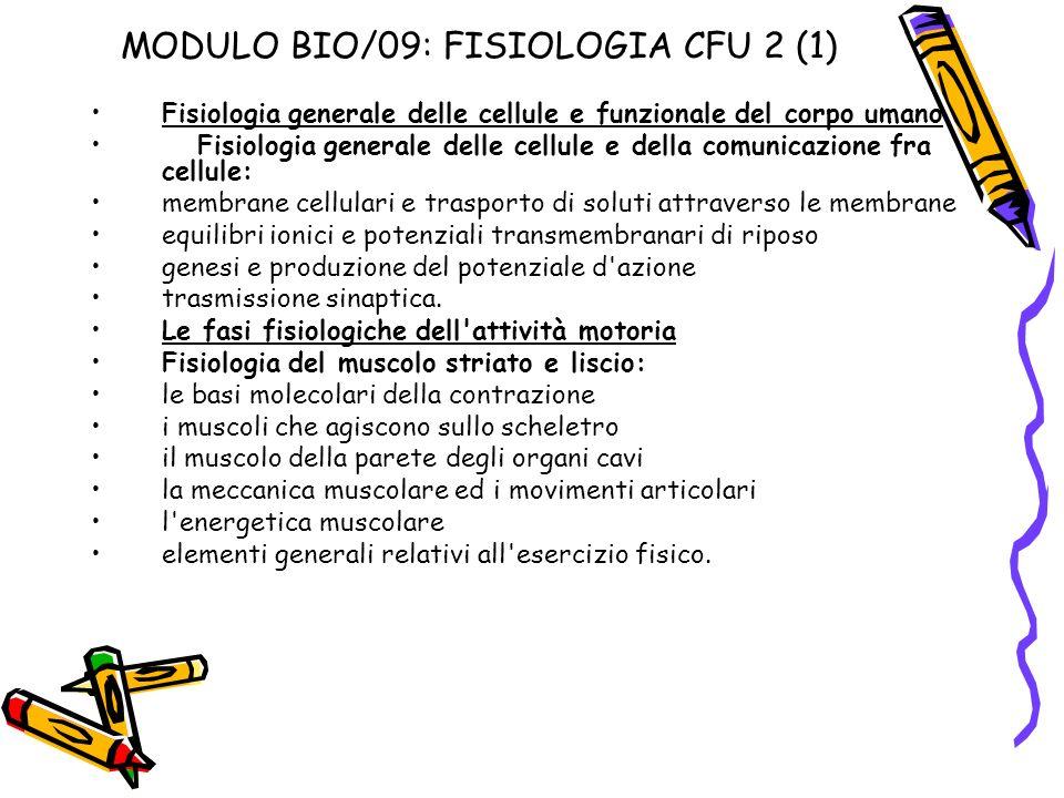 MODULO BIO/09: FISIOLOGIA CFU 2 (1) Fisiologia generale delle cellule e funzionale del corpo umano Fisiologia generale delle cellule e della comunicaz