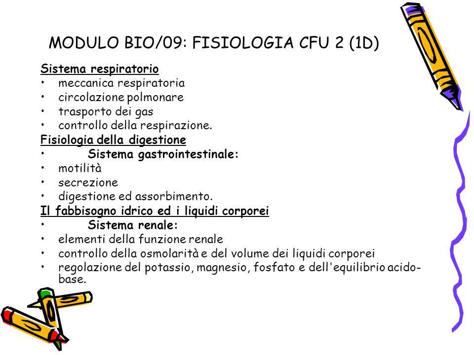 MODULO BIO/09: FISIOLOGIA CFU 2 (1D) Sistema respiratorio meccanica respiratoria circolazione polmonare trasporto dei gas controllo della respirazione
