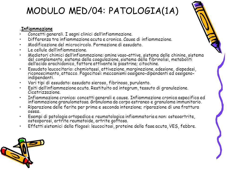 MODULO MED/04: PATOLOGIA(1A).Infiammazione Concetti generali. I segni clinici dellinfiammazione. Differenza tra infiammazione acuta e cronica. Cause d