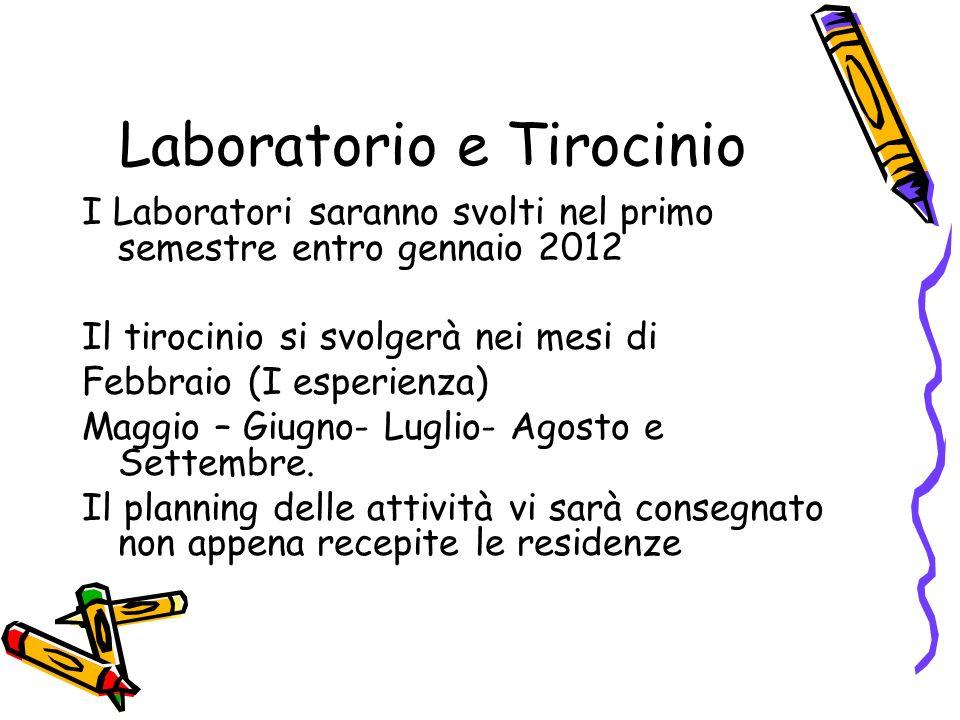 Laboratorio e Tirocinio I Laboratori saranno svolti nel primo semestre entro gennaio 2012 Il tirocinio si svolgerà nei mesi di Febbraio (I esperienza)