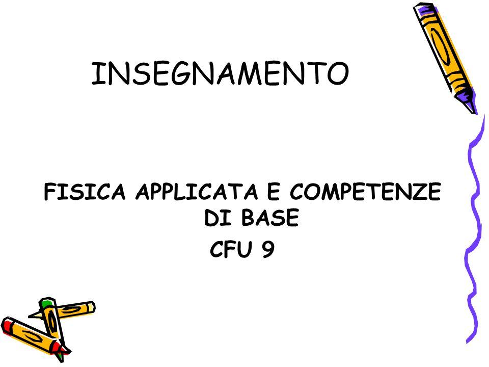INSEGNAMENTO FISICA APPLICATA E COMPETENZE DI BASE CFU 9