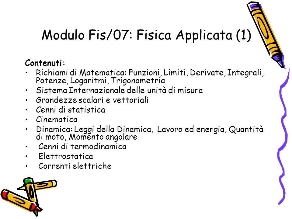Modulo Fis/07: Fisica Applicata (1) Contenuti: Richiami di Matematica: Funzioni, Limiti, Derivate, Integrali, Potenze, Logaritmi, Trigonometria Sistem