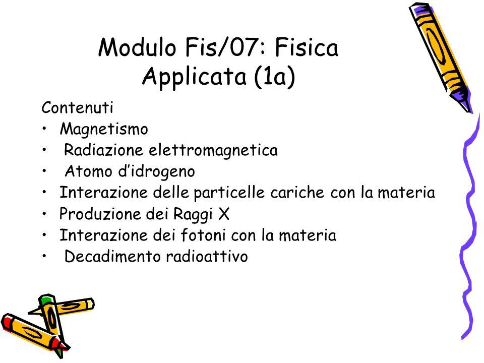 Modulo Fis/07: Fisica Applicata (1a) Contenuti Magnetismo Radiazione elettromagnetica Atomo didrogeno Interazione delle particelle cariche con la mate