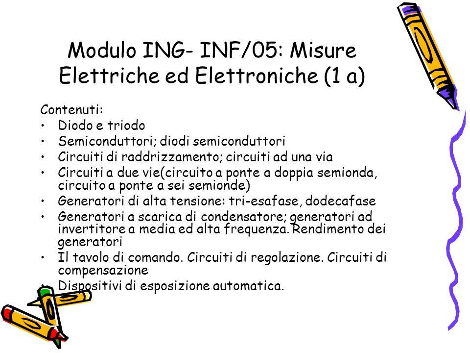 Modulo ING- INF/05: Misure Elettriche ed Elettroniche (1 a) Contenuti: Diodo e triodo Semiconduttori; diodi semiconduttori Circuiti di raddrizzamento;