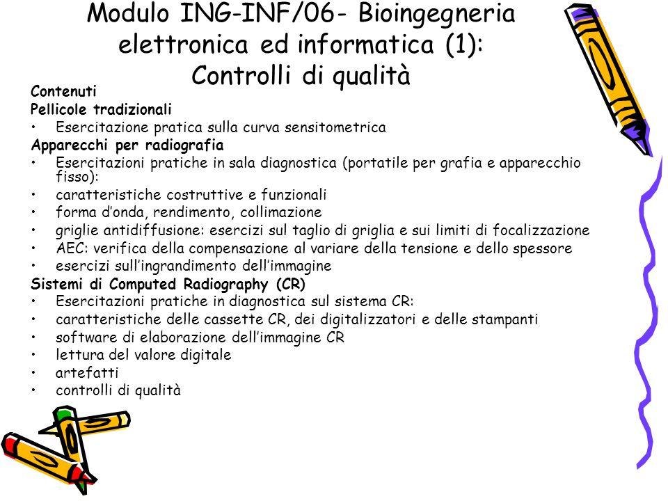Modulo ING-INF/06- Bioingegneria elettronica ed informatica (1): Controlli di qualità Contenuti Pellicole tradizionali Esercitazione pratica sulla cur