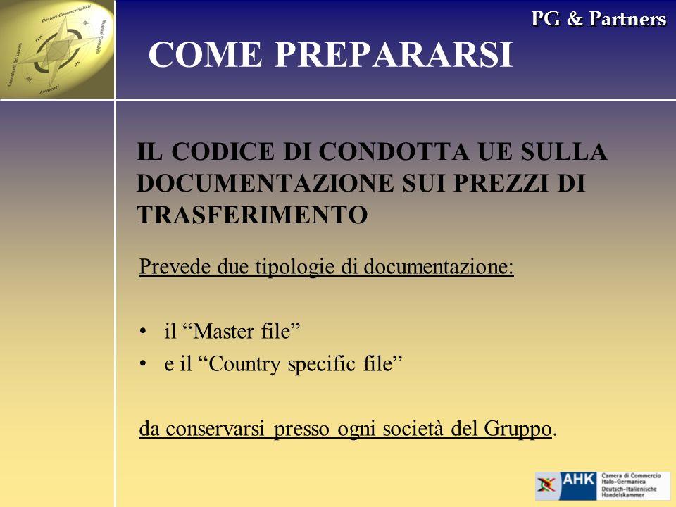 PG & Partners IL CODICE DI CONDOTTA UE SULLA DOCUMENTAZIONE SUI PREZZI DI TRASFERIMENTO COME PREPARARSI Prevede due tipologie di documentazione: il Ma