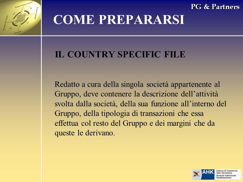 PG & Partners IL COUNTRY SPECIFIC FILE COME PREPARARSI Redatto a cura della singola società appartenente al Gruppo, deve contenere la descrizione dell