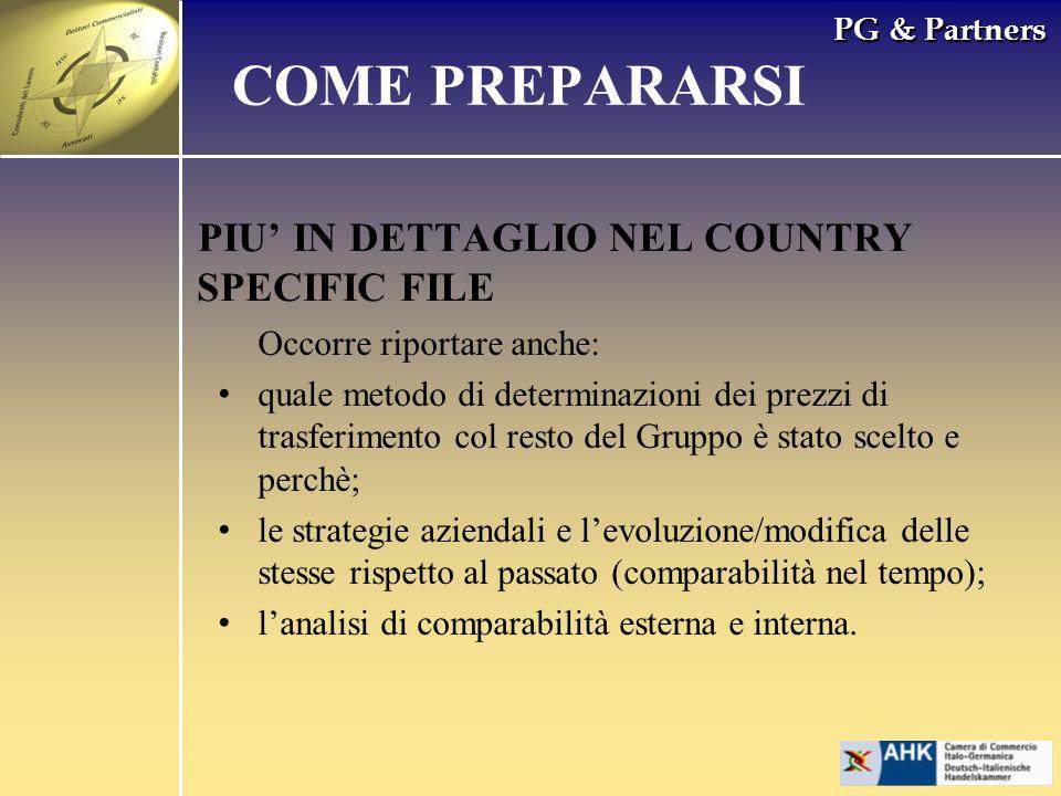 PG & Partners PIU IN DETTAGLIO NEL COUNTRY SPECIFIC FILE COME PREPARARSI Occorre riportare anche: quale metodo di determinazioni dei prezzi di trasfer