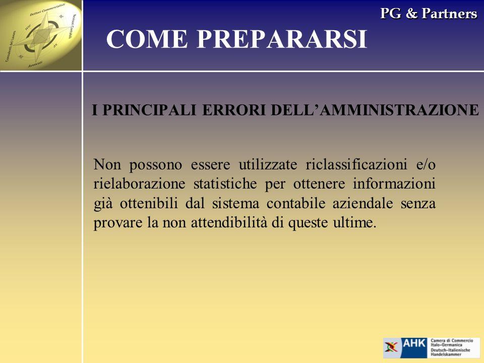 PG & Partners I PRINCIPALI ERRORI DELLAMMINISTRAZIONE COME PREPARARSI Non possono essere utilizzate riclassificazioni e/o rielaborazione statistiche p