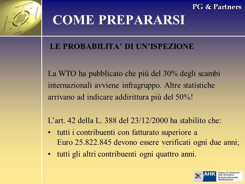 PG & Partners LE PROBABILITA DI UNISPEZIONE La WTO ha pubblicato che più del 30% degli scambi internazionali avviene infragruppo. Altre statistiche ar